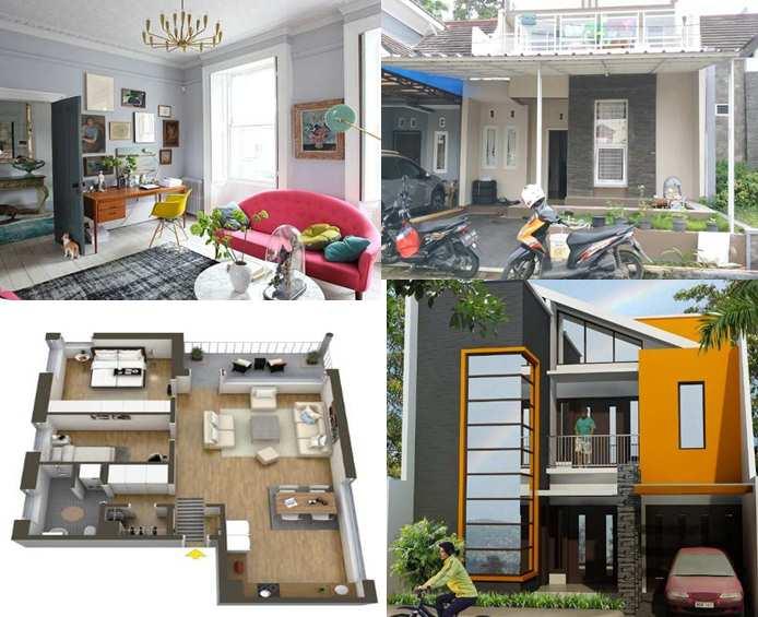 Bagian Depan rumah dengan batu alam konsep minimalis