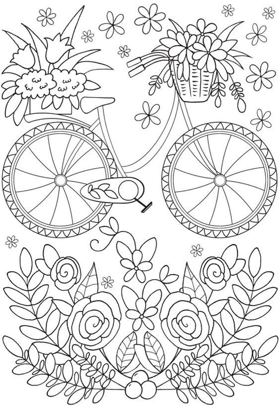 Tranh tô màu chiếc xe đạp và hoa