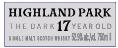 Highland Park The Dark 17 year old single malt scotch whisky
