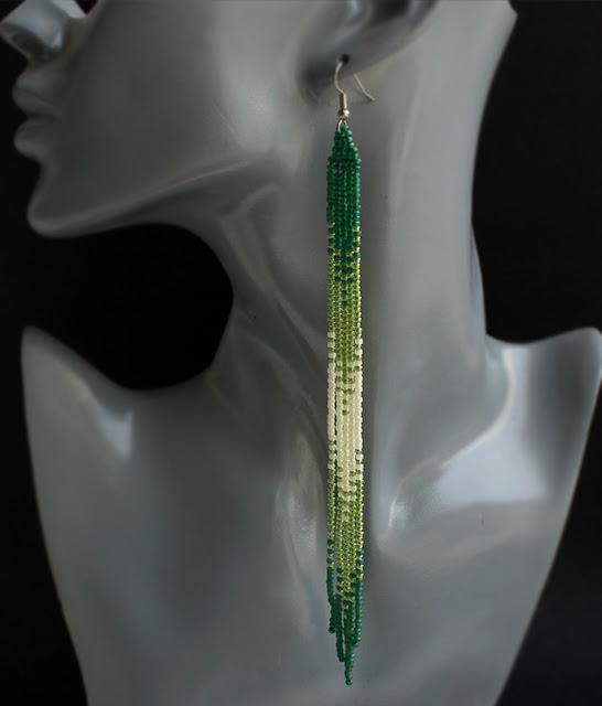 купить украшения из бисера ручной работы в интернет магазине серьги зеленого цвета