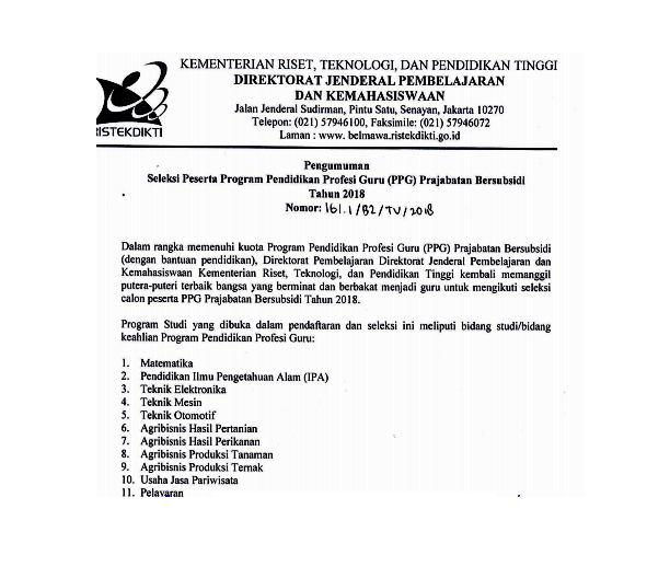 Pendaftaraan Seleksi Peserta PPGJ Bersubsidi Tahun 2018