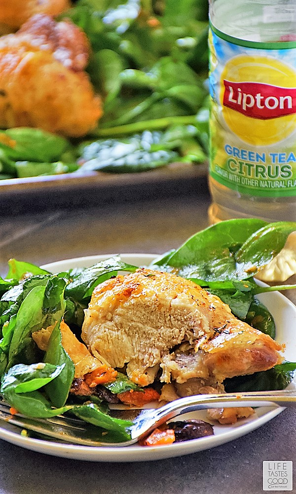 Roasted Chicken and Vegetables Recipe with Lipton Green Tea Citrus
