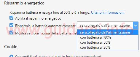 Opera Risparmio batteria automatico
