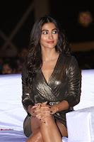 Pooja Hegde looks glamarous in deep neck sleevless short tight golden gown at Duvvada Jagannadham thank you meet function 088.JPG