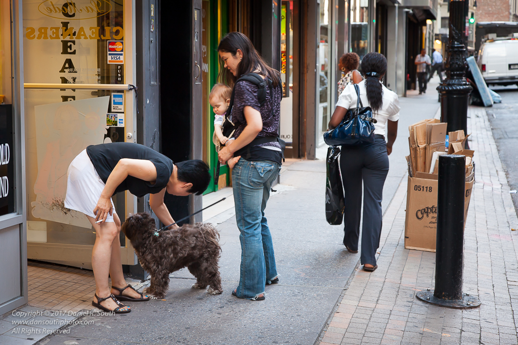 a photo of a lady with a cigarette petting a dog in new york city