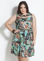 Moda Vestido Folhagem com Tule Plus Size