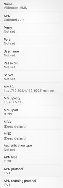 Videocon MMS Settings for Android