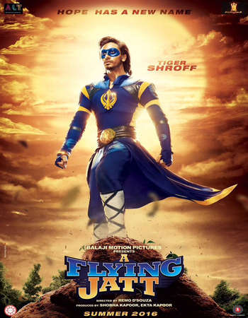 Poster Of A Flying Jatt 2016 Hindi 700MB DVDScr XviD Watch Online Free Download Worldfree4u