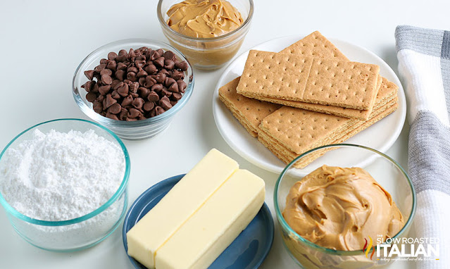 ingredients in bowls on counter to make no bake dessert bars