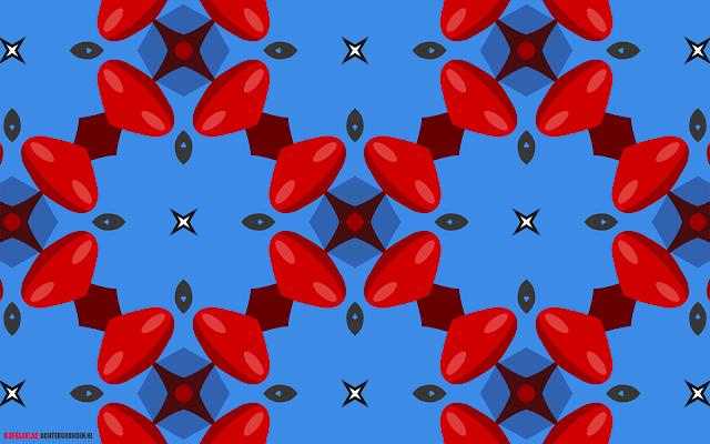 Blauw rode abstracte achtergrond met 3D figuren en witte sterren