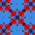 Blauw rode abstracte achtergrond met 3D figuren