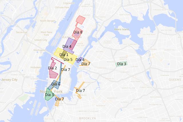 mapa de 8 días en Nueva York