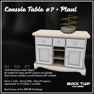 [Black Tulip] Mesh - Console Table #7 + Plant