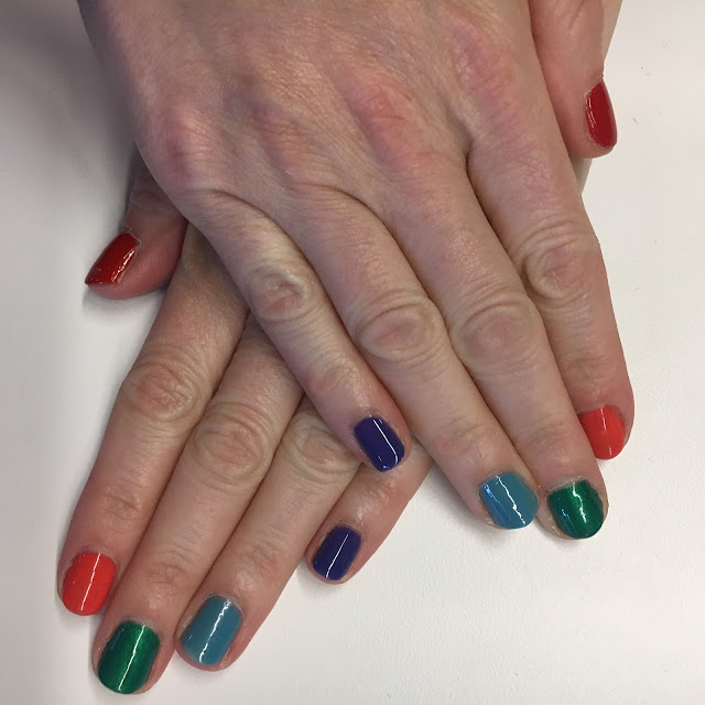 2017, 2018, reflection, Jamie Allison Sanders, National Nail Polish Day, nails, rainbow manicure