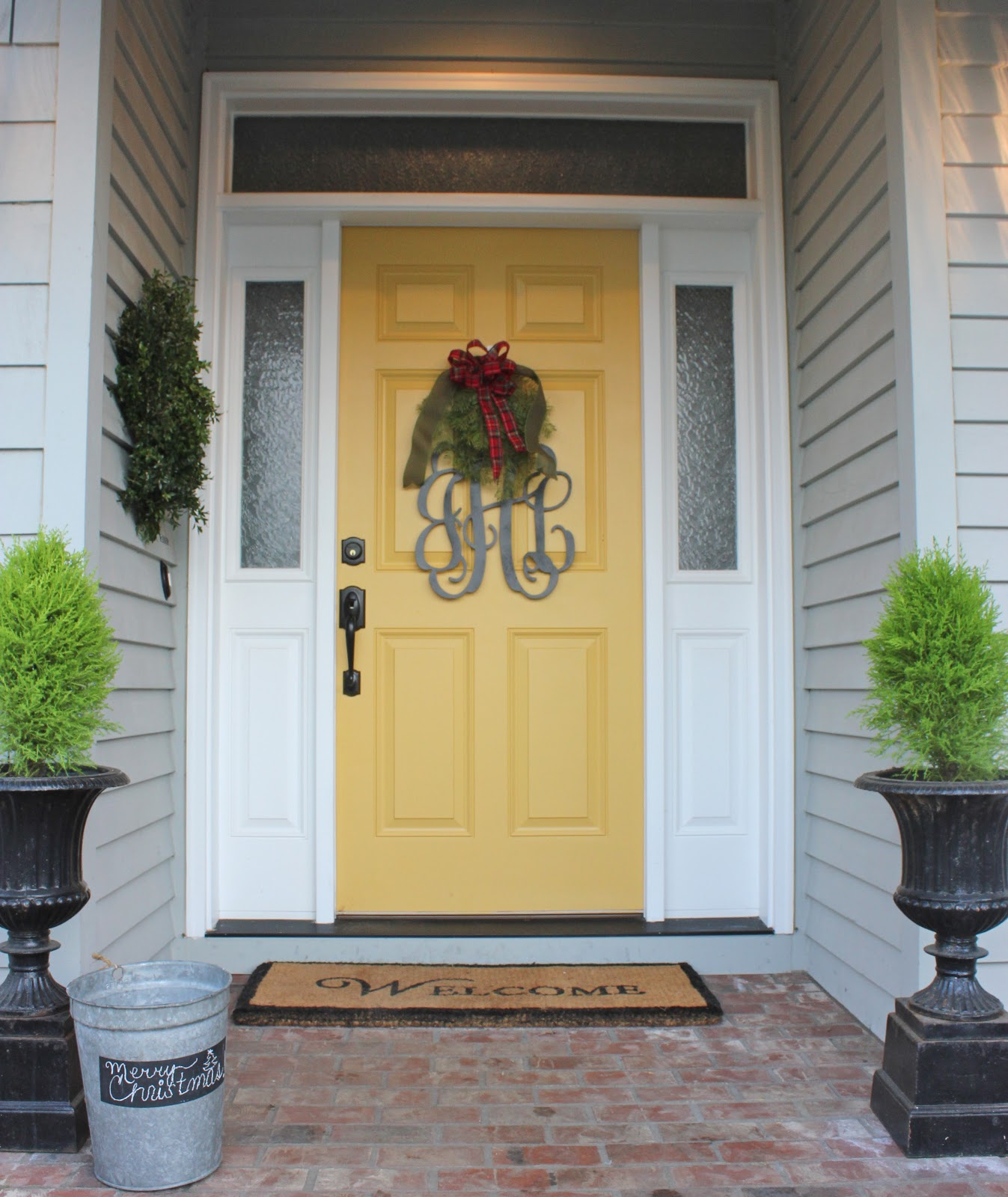 Our christmas home forever cottage - Gray house yellow door ...