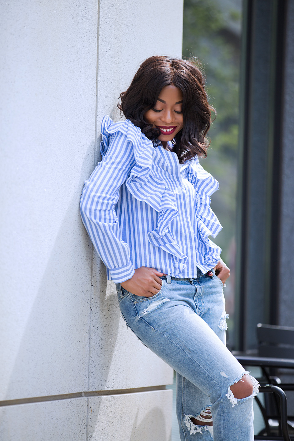 Ruffle blouse, express girlfriend jeans, www.jadore-fashion.com