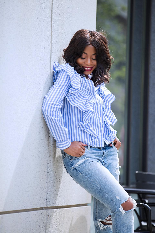 Ruffle blouse, express girlfriend jeans, www.jadore-fashion.com