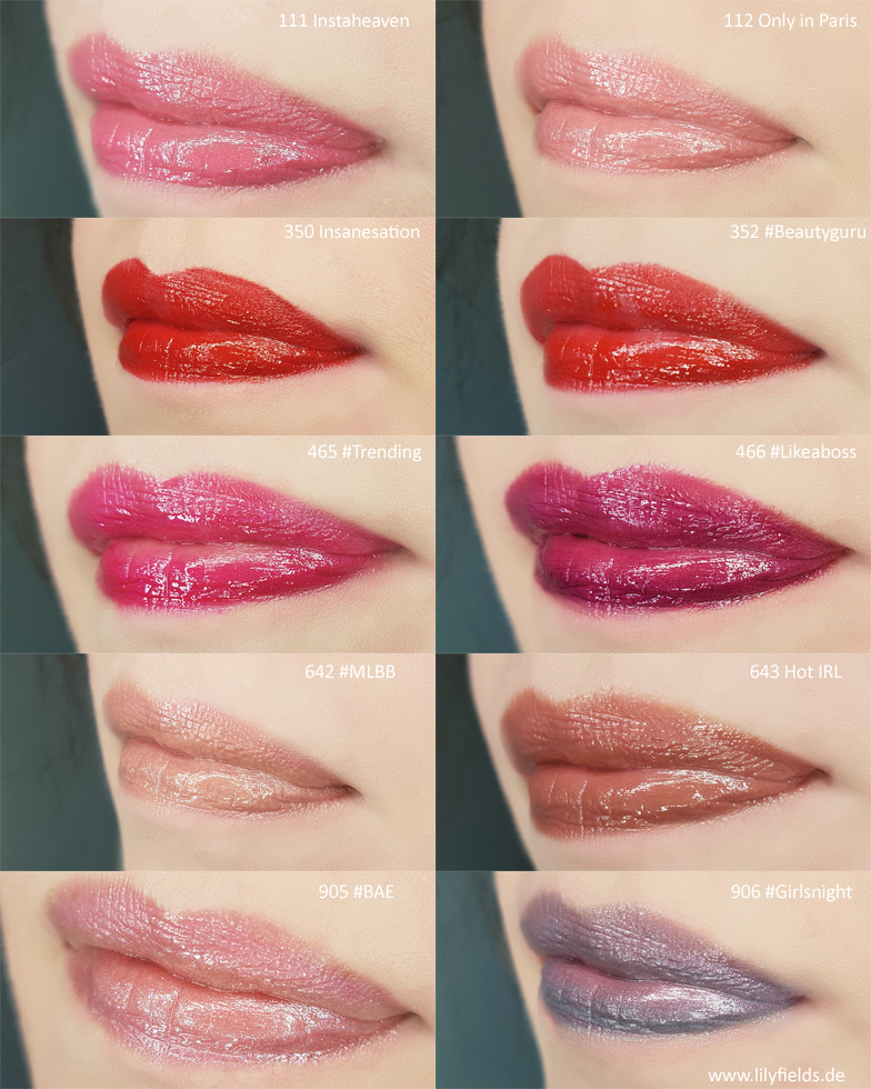L'Oreal - Color Riche Shine Lippenstifte - Swatches