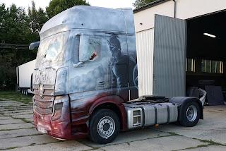 Malowanie tira, malowanie aerografem samochodów cieżarowych ozdabianie tirów, tuning ciężarówek porzez malowanie