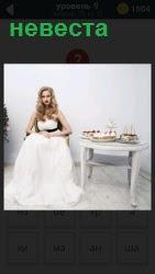 Девушка невеста в белом платье сидит на стуле в ожидании, рядом стол с кондитерскими изделиями