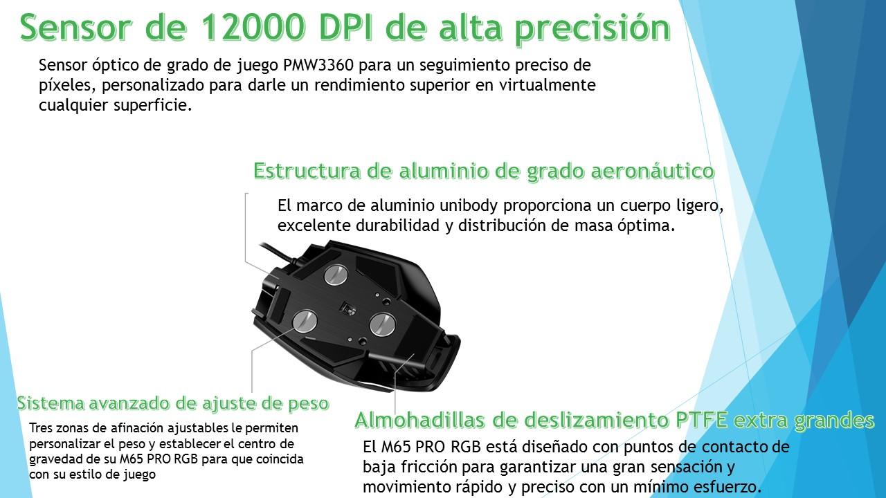 pubicacaiones : MOUSE GAMER M65 PRO RGB 12000 DPI - NEGRO