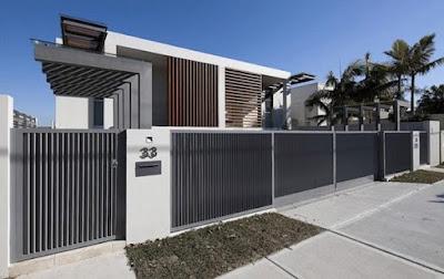 Gambar pagar besi minimalis dengan batu alam