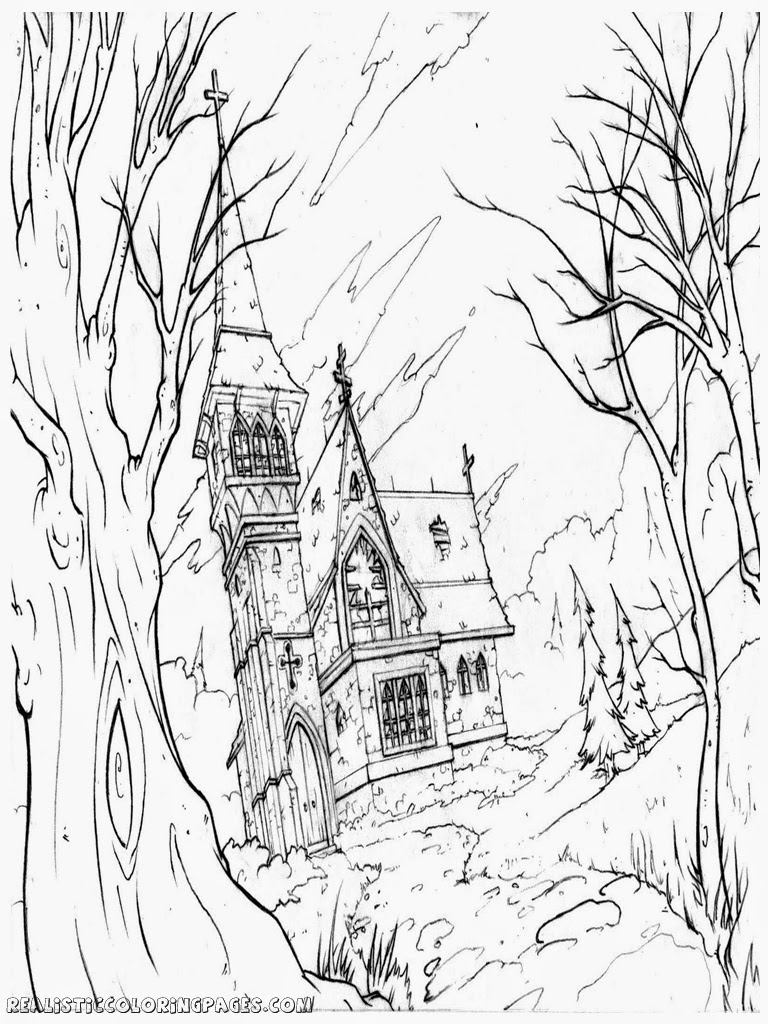 haunted church halloween house coloring pages