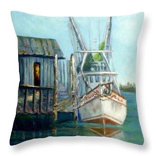 Coastal Nautical Throw Pillow with a Shrimp Boat on a the sea