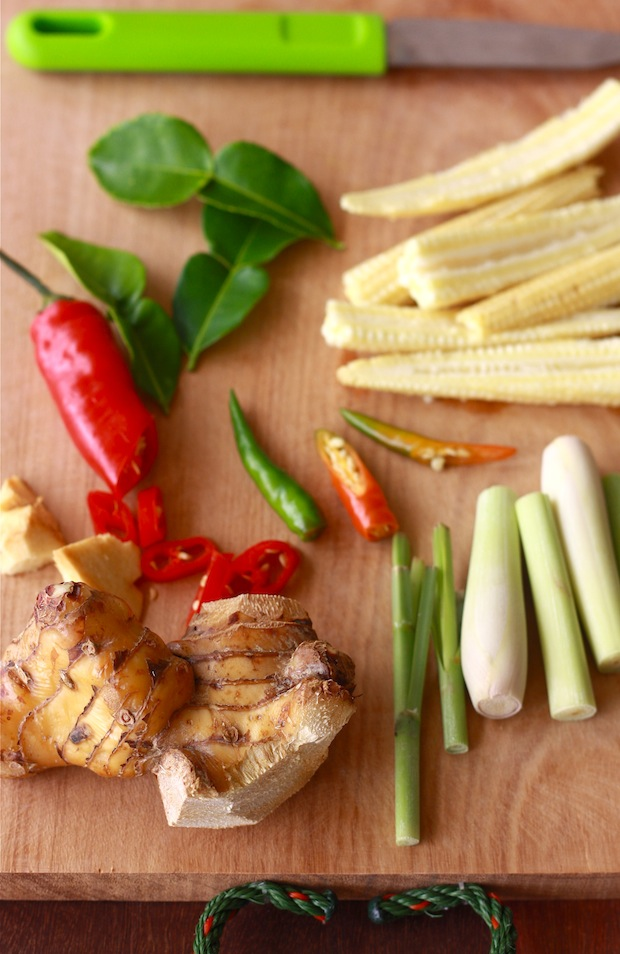 what are the ingredients for tom kha gai - spices & herbs of galangal, lemon grass, kaffir lime leaves, cilantro, birds eye chili pepper