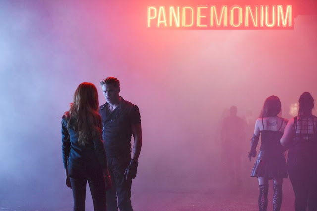 Still from Shadowhunters Episode 1001; Courtesy of ABC Family/Freeform.  Clary and Jace meet for the first time outside of the club Pandemonium.