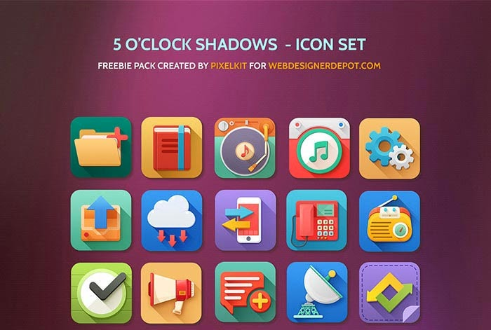 16 Free Colourful 5 O'Clock Shadows Icons with PSD