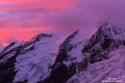 Morning alpenglow on Anniversary Peak in Bugaboo Provincial Park, British Columbia, Canada.