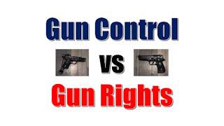 Text saying Gun Control Debate: Pro vs Con, with images of gun without lock next to gun locked up, showing gun rights vs gun control