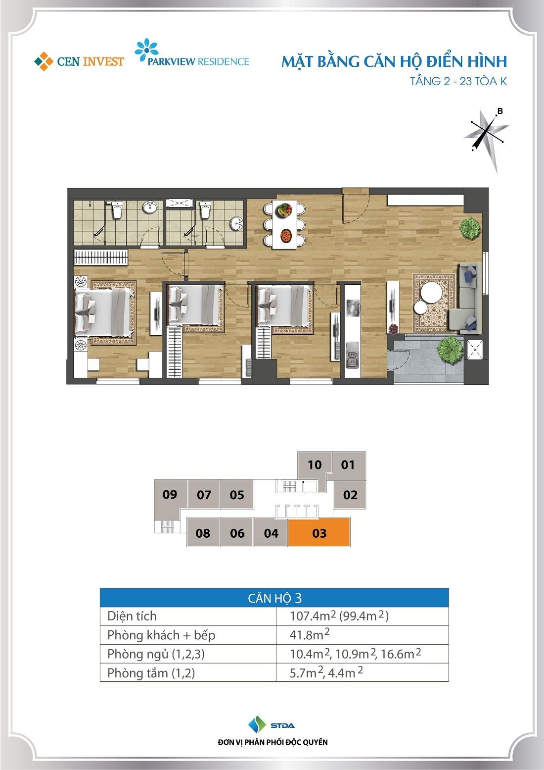 Thiết kế căn hộ 3 phòng ngủ tại Parkview Residence