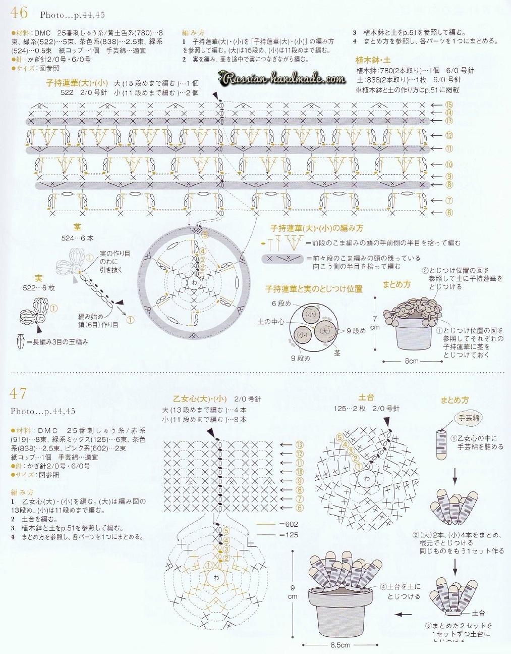 Вязание крючком суккулентов. Схемы вязания (2)