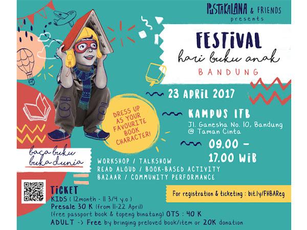 Festival Hari Buku Anak Digelar 23 April 2017 di Taman Cinta Jln Ganesha Bandung