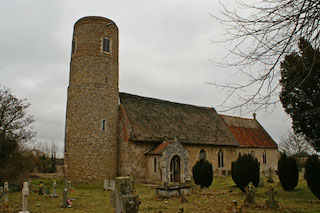 A Norman Church with a Round Tower, in East Anglia