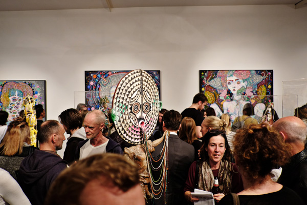 Sculptures, paintings and opening night crowd at Roslyn Oxley9 gallery for 'angel dribble' by Del Kathryn Barton.