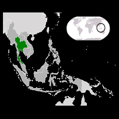 Изображение контуров Тайланда на карте Мира