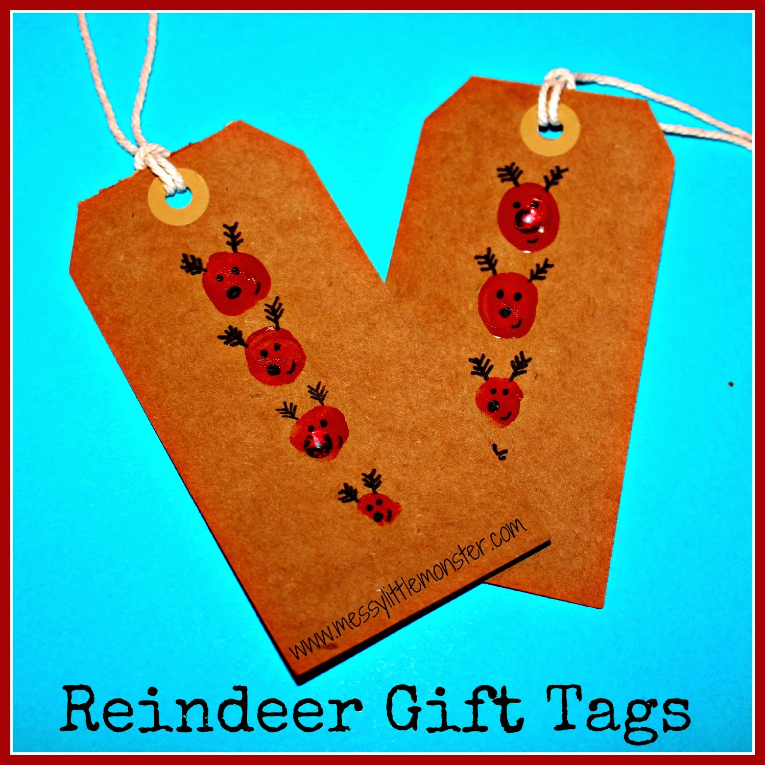Reindeer fingerprint gift tags.  Simple Christmas craft activity for toddlers, preschoolers and older kids.