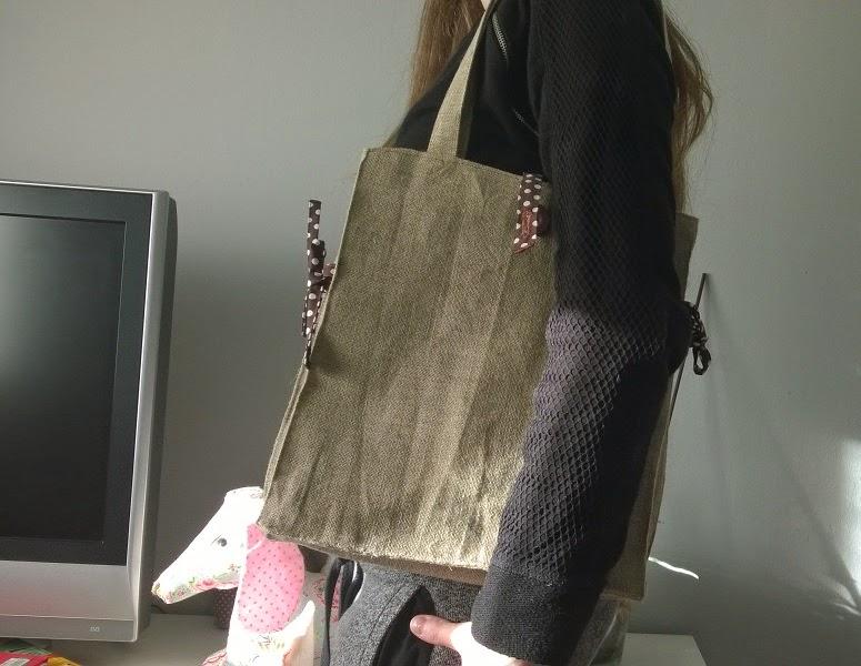 Bolso rectangular tela saco