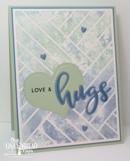 ODBD Hugs Stamp/Die Duos, ODBD Custom Quilted Background Die, ODBD Custom Pierced Heart Die, ODBD Clouds and Raindrops Dies, Card Designer Angie Crockett