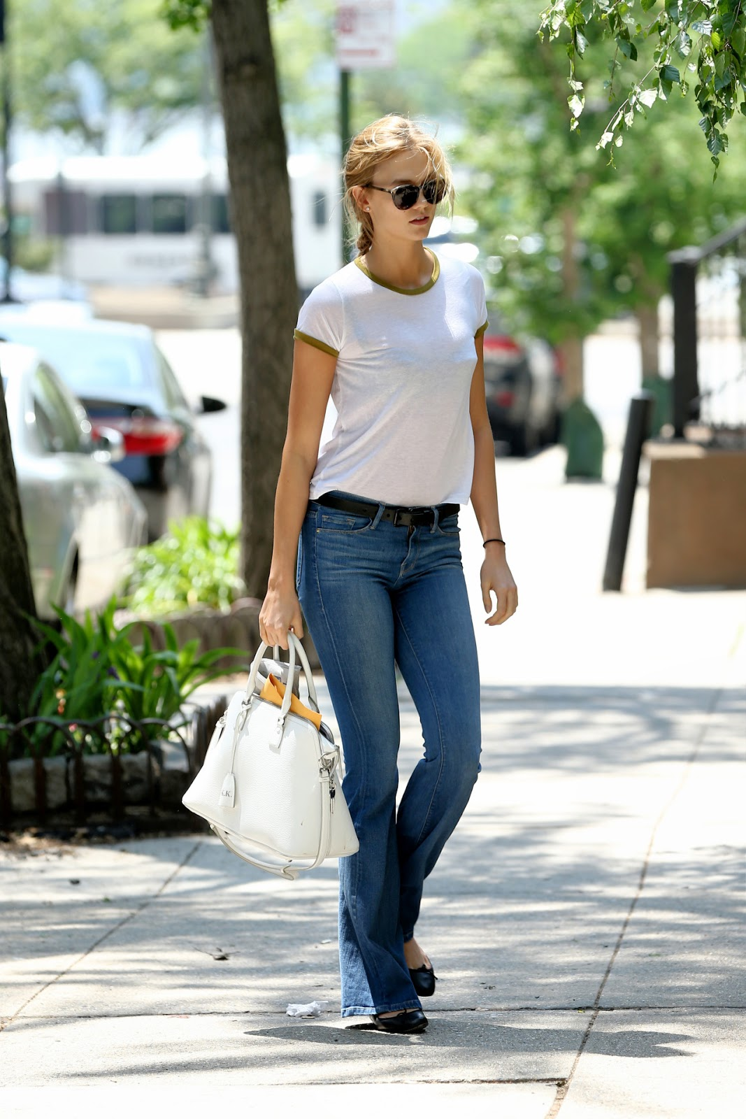 Karlie Kloss in Jeans & a White Tee in NYC