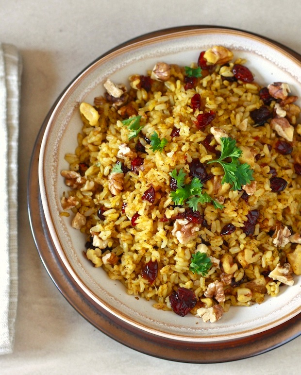 Curried Cranberry Walnut Rice by SeasonWithSpice.com