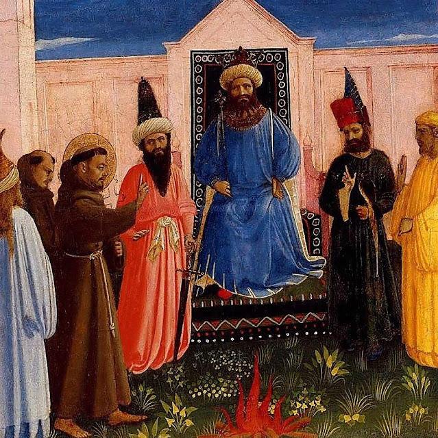 São Francisco de Assis diante do sultão al-Malik al-Kamil.  Fra Angelico ca. 1429, Lindenau Museum, Altenberg.