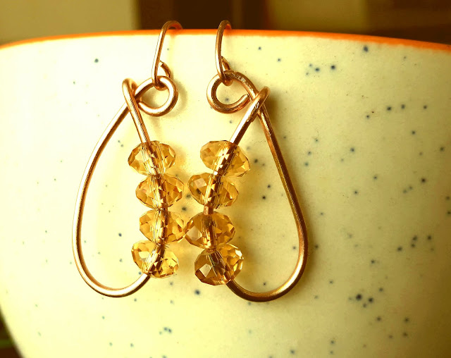 Copper Jewelry, Copper Wire Ear Rings, Copper Wire Bead Rings
