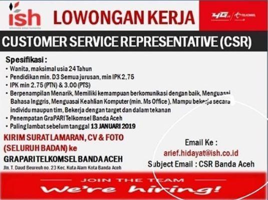 Lowongan Kerja Lowongan Kerja Grapari Telkomsel Aceh 2019
