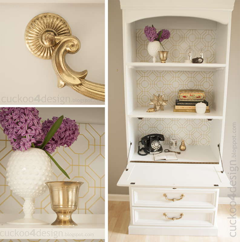 antique desk makeover in gold and white diy graphic wallpaper