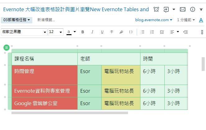 全新 Evernote 表格設計!表格合併、顏色、寬度固定都能自訂