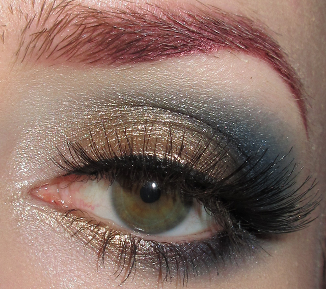Glitter Is My Crack Gold And Blue Eye Makeup Look